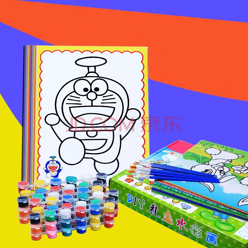 幼儿园画水彩画颜料套装儿童填色水粉画涂鸦手工制作-彩绘水彩颜料